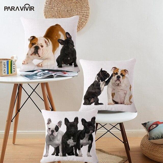 Animal Cushion Cover French Bulldog Gift For Children Home Decorative Pillows Case Sofa Car Chair Throw Pillow Cover almofadas