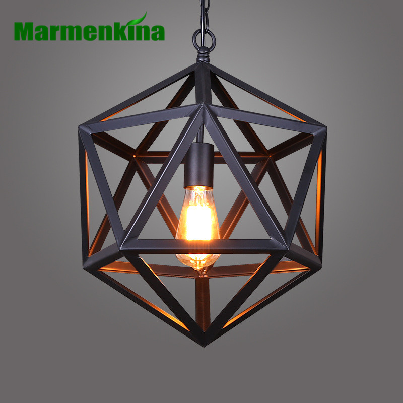 Marmenkina RH Lighting Restoration Hardware Vintage Pendant Lamp RH Loft Pendant Lights Diamond Steel Polyhedron E27 Indoor Lamp rh loft vintage decoration pendant lamp