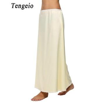 Tengeio Summer Women Underskirts Satin Solid Trim Maxi Lace Long Black Half Slip Underskirt Skirt Slips Jupon Dentelle Femme 6S window valance