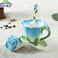 Creative Color Enamel Porcelain Coffee Cup Saucer Spoon Set Roses Bone China Cup Creative Gift for Friend Wedding