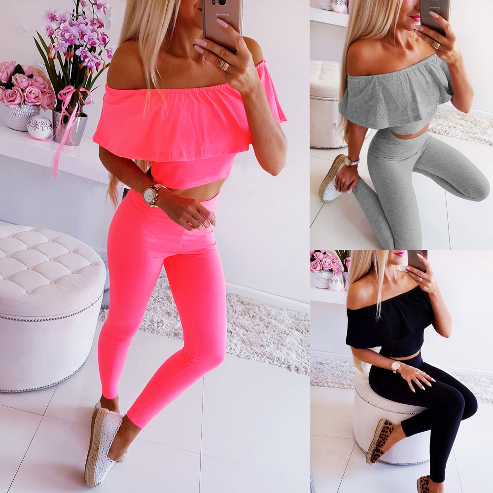 Women Suit For Summer 2019 Sexy Off Shoulder Slash Neck Sleeveless Female Clothing Solid Long Pants Women Summer Sexy Suits