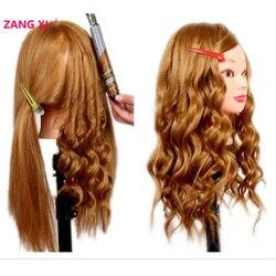 Profissional 80% cabelo humano manequim cabeça para pracise trança penteado cosmetologia formação cabeça com braçadeira livre peruca cabeça