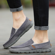Купить с кэшбэком 2019 Spring Autumn Comfortable Loafers Lazy Driving Flats Men Canvas Shoes Ultralight Casual Men Shoes Chaussure Homme
