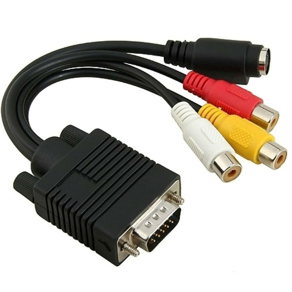 15 Pin VGA to S-Video A//V Out 3 RCA Composite Female Converter Adapter Cable