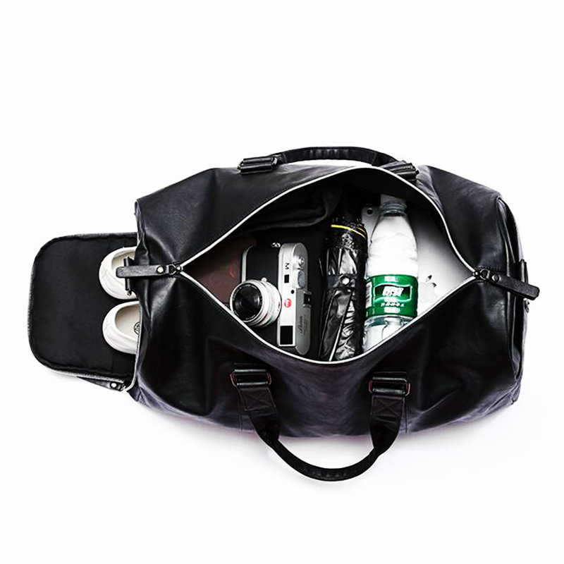 Mens Gym Bag With Compartment For Shoes Women Travel Leather Bag