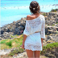 2016 New Europe America Hollow Crochet Lace Women White Beach Dress With Belt