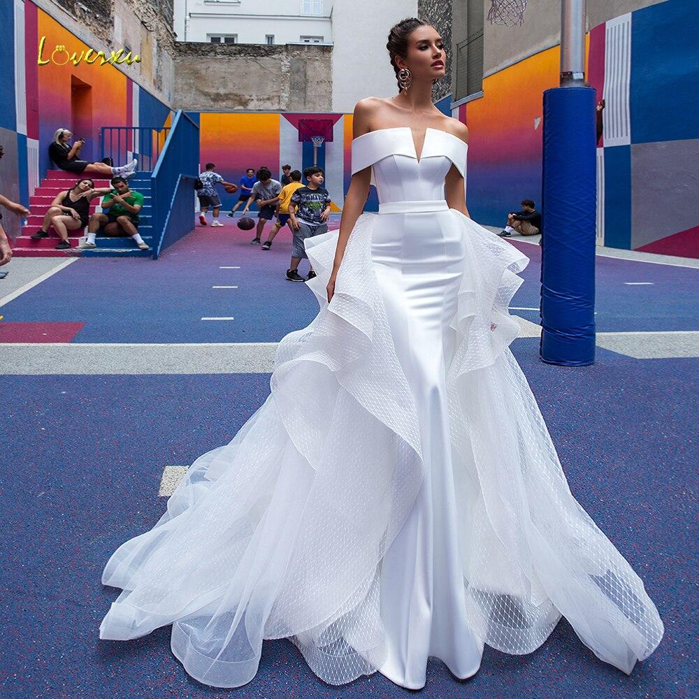 Loverxu Sexy Boat Neck Matte Satin Mermaid Wedding Dresses 2020 Simple Detachable Train Lace Vintage Trumpet Bridal Gowns