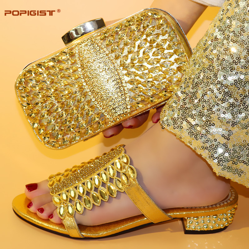 Hot Selling Women Shoes Matching Bag Set 2019 Italian shoes with matching bag Gold Color Short