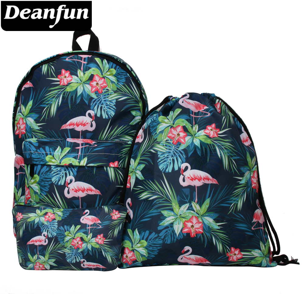 Deanfun Wasserdicht Schule Rucksack Frauen Flamingo Bookbag Nette Reisetasche für Teenager Mädchen Kawaii Rucksack