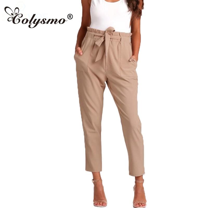 Colysmo Ruffle High Waist Belt Tapared Peg   Pants   Cropped   Capri   Trousers Summer Casual Harem   Pants