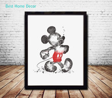 Mickey Mouse Art Paper Watercolor Painting Watercolor Nursery Wall Hanging Wall Decor Poster Art Print Gift AP068