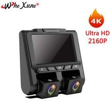 """WHEXUNE 4 K Novatek 3 """"Car DVR Full HD 1080 P + 1080 P All'interno e Al di Fuori di Videocamera per auto Dash camme di Parcheggio Monitor di Visione Notturna Nuovo A1"""