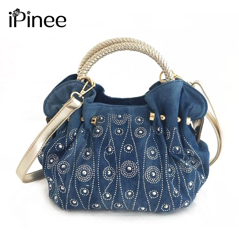 IPinee Luxury Women Demin Handbag Women Messenger Bag Female Jeans Shoulder Bag Women's Rivet Bags Sac A Main