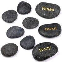 Naturaql Tumbled Crystal Reiki Healing Massage Stones SPA Engraved Inspiral Words Dark River Stone Set of 9