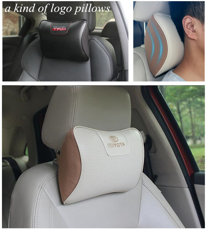 2 Leather Car Auto Memory Foam Pillow