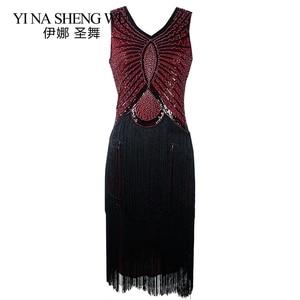 Image 4 - 1920s Sequin Vintage Dress Tassel Sleeveless Flapper Dress Evening Party V neck Bodycon Fringed Sleeveless Latin Dance Clothes