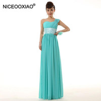 NICEOOXIAO 2018 Hot One Shoulder Evening Dresses Elegant Chiffon Long Party Gowns Formal Ball Dress Plus Size 2 18