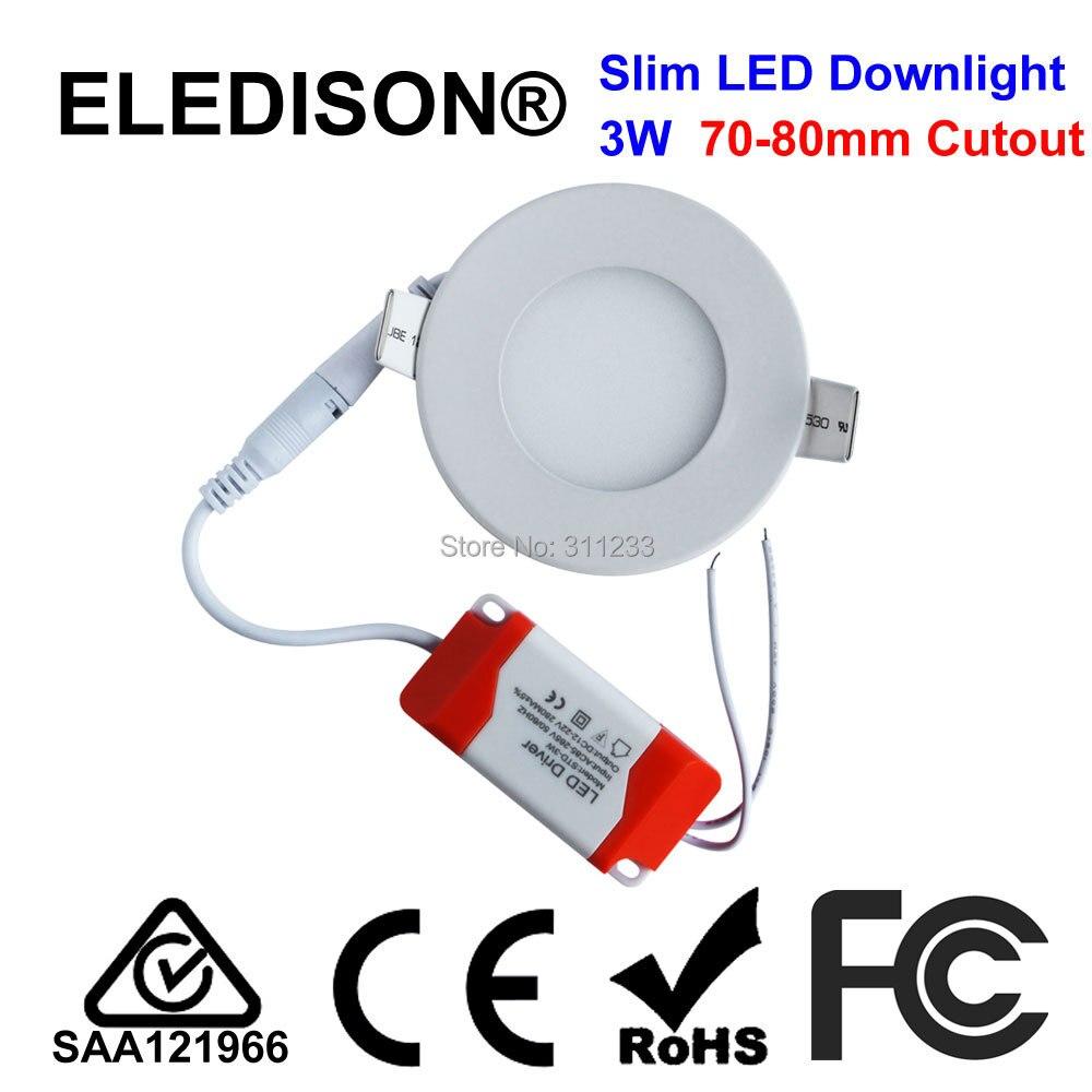 2.5 дюймов ультра-тонкий светодиодный светильник Панель 3 Вт вырез 70-75 мм SMD LED белый установки матовое покрытие коридоре номер потолочный све...