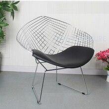 Гарри алмаз Досуг стул Алмазная стальная проволока стул Bertoia алмаз металлический стул коврик современный провод стул хромированный черный белый красный