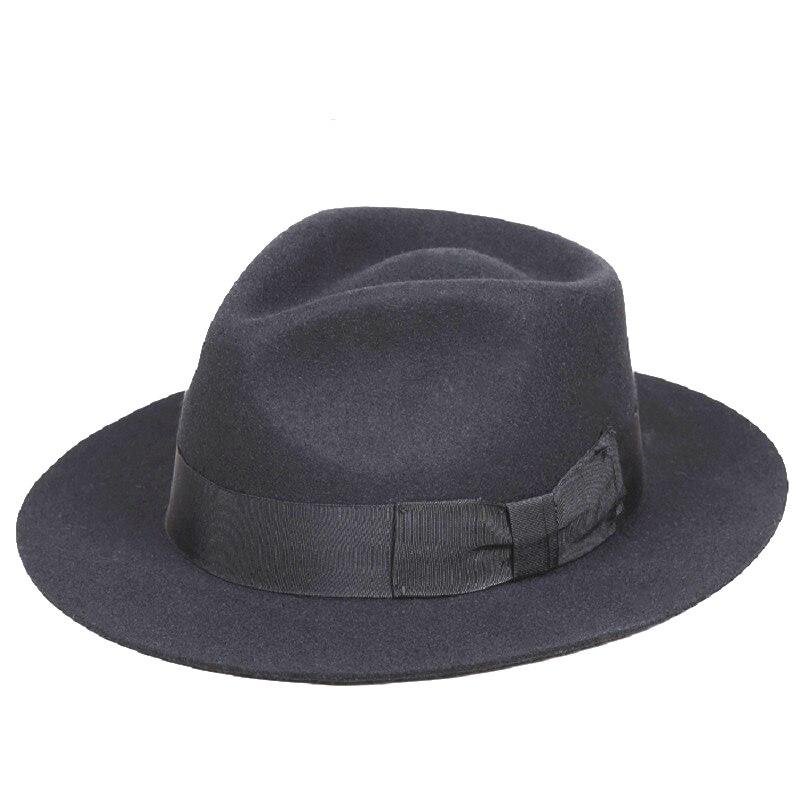 クラシックメンズブラックウールfedoraマイケルジャクソン紳士帽子  グループ上の アパレル アクセサリー からの フェドーラ の中 1