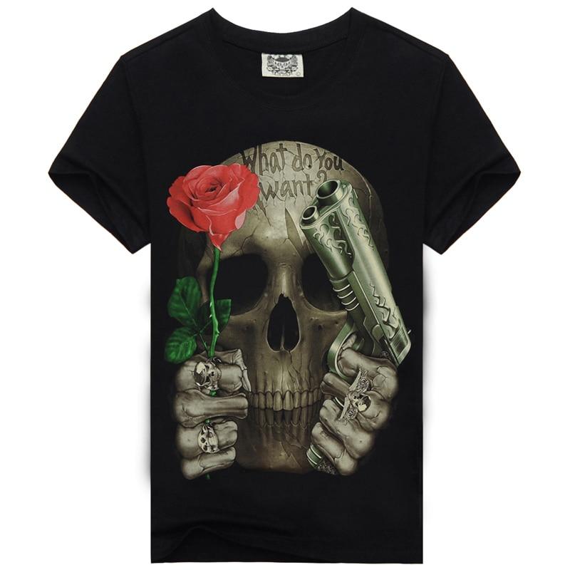 [Men bone] Mens Fashion 3D rose or gun print t-shirts casual t shirt clothing Men T Shirt skull style t-shirt men
