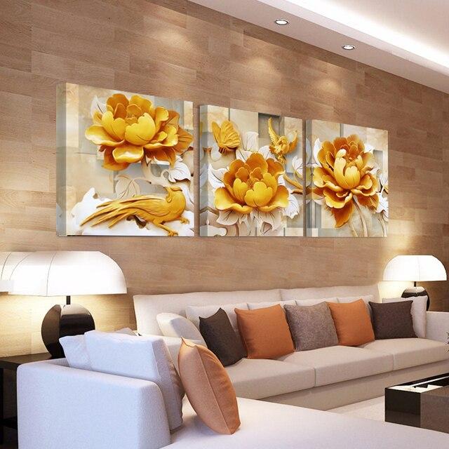 Dipinti casa Decorativi su Tela 3D Fiore D\'oro Quadri Su Tela per ...