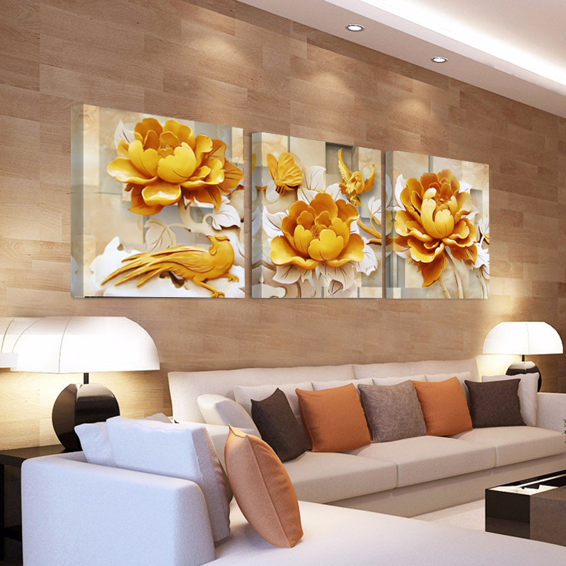 home decorative paintings on canvas 3d golden flower. Black Bedroom Furniture Sets. Home Design Ideas