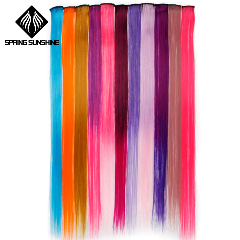 Synthetic Clip-in One Piece New Fashion Aosiwig 1 Clip-in Pure Color Hair Extensions Red Pink Purple 19 Colors Long Straight Synthetic Heat Resistant Hair Extensions Quality And Quantity Assured