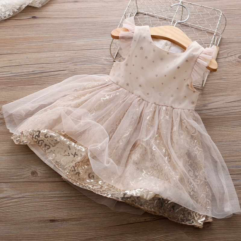 Kids Elegant Dresses for Girls Sequin Mesh Princess Party Dress 2018 3-8Y Toddler Children Baby Summer Vestido Tops Clothes