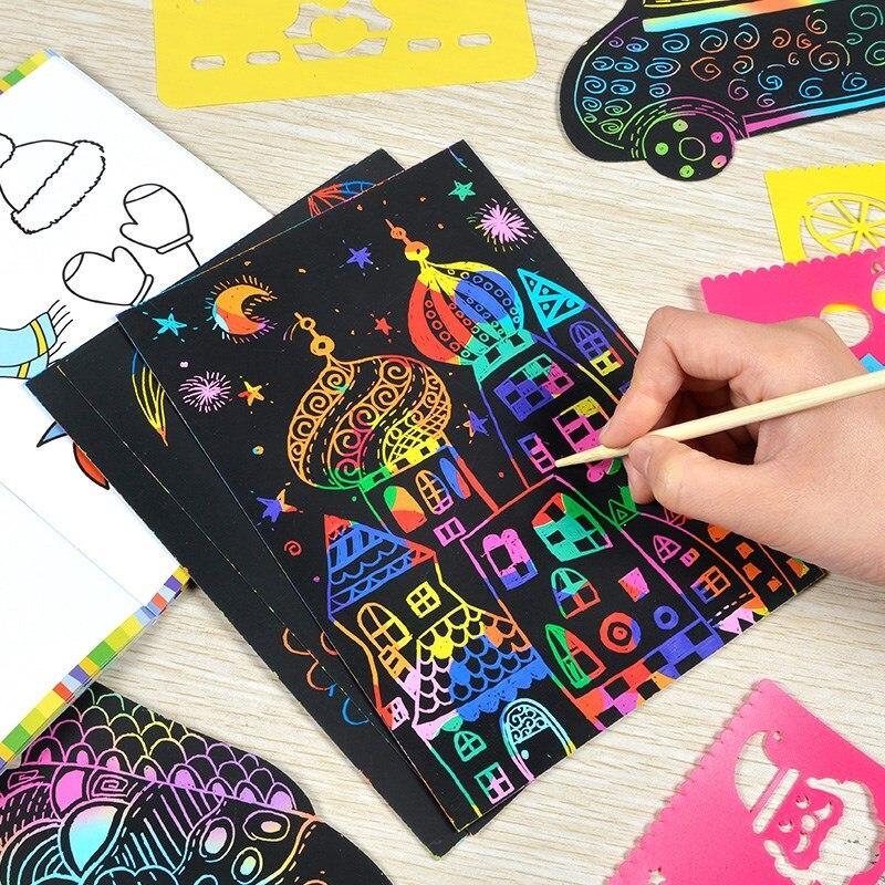 10 pièces/19 * 26c magique coloré planche à dessin papier peinture grattage enfants enfants apprentissage éducation jouets peinture Doodle Scratch (lot de 10)
