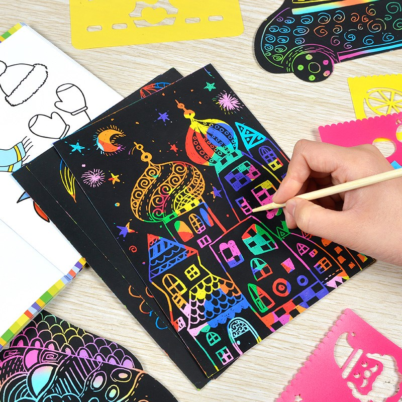 10pcs/19*26c Magic Colorful Drawing Board Paper Painting Scraping Children Kids Learning Education Toys Painting Doodle Scratch