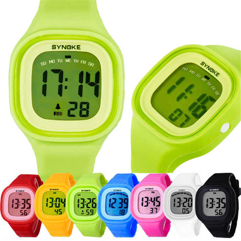 1PC Silicone LED Light Digital Rubber Sport Wrist Child watch in Yellow Blue Pink Green Red White Black Ladies Horloge Kinderen fashionable water resistant glow in dark wrist watch black white 1 x lr626