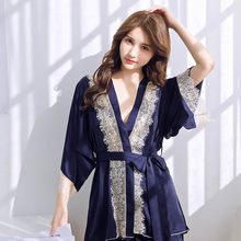 Nueva llegada pijamas de seda de imitación de verano de mujer conjuntos de tres piezas de manga de canción y pantalones conjunto de Vestidos de Pijama para el hogar de ocio 382