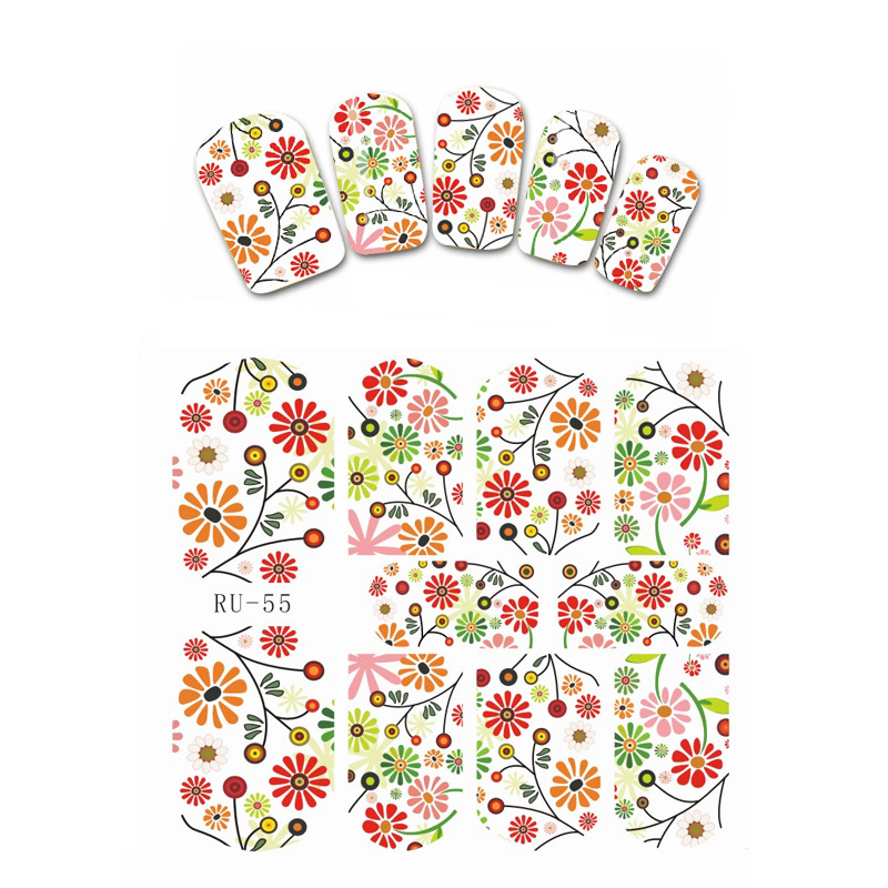 1X  Nail Sticker MOVIE STAR FLOWER DAISY BROKEN GLASS MAPLE FRUIT APPLE PET CAT RU055-060 daisy star 4