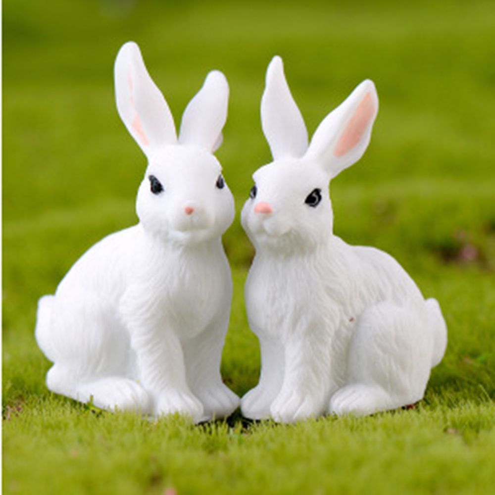 Resin Home Green Cute Rabbit DIY Mini Decorations Happy Family Micro Landscape Cartoon Rabbit Gift Household Baby Toy 4 Styles(China)
