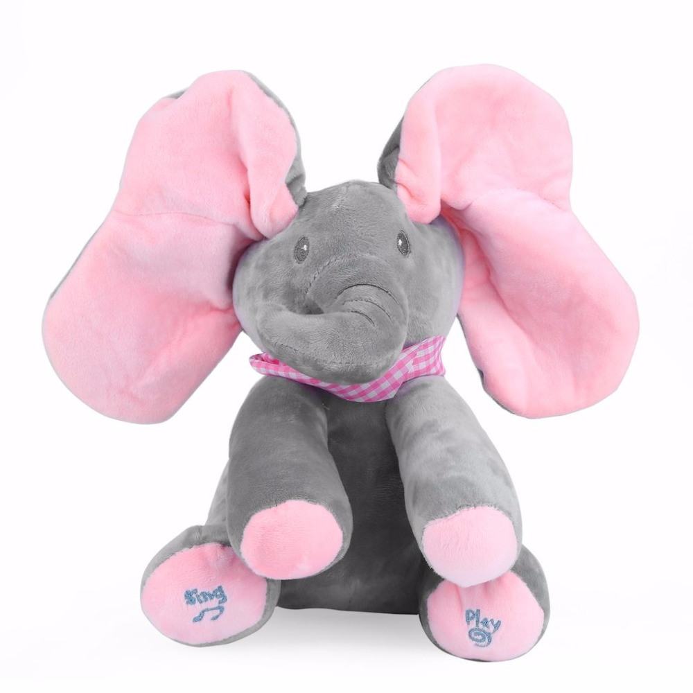 Elephant Stuffed Toy Electric Music Elephant Hide And Seek Toy Soft Baby Toy Plush Doll Cartoon Animal Education Children Pillow