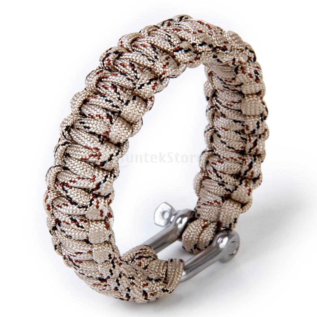 Paracord 550 Survival Bracelet With Stainless Steel U Shackle  Desert Camo(china  (mainland