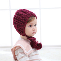 2017 Korean Autumn Winter New Children HAT Baby Hand Knitted Lace Ear Twist Wool Hat For