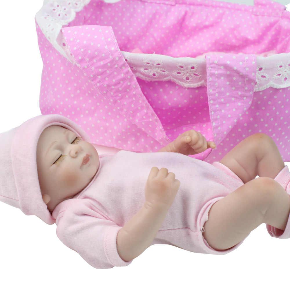 """Npkdoll 28 cm mini boneca renascer 10 """"artesanal de corpo inteiro vinil silicone bebê boneca dormindo meninas brinquedos de banho presente natal rosa"""