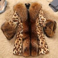 Leopard Print Sexy Natural Fox Fur Coats Outerwear Women Whole Skin Fur Overcoat Fur Jackets With Real Raccoon Dog Fur Collar
