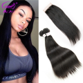 Brazilian Virgin Hair With Closure 4 Bundles Unprocessed Brazilian Straight Hair With Closure 8A Human Hair with Closure