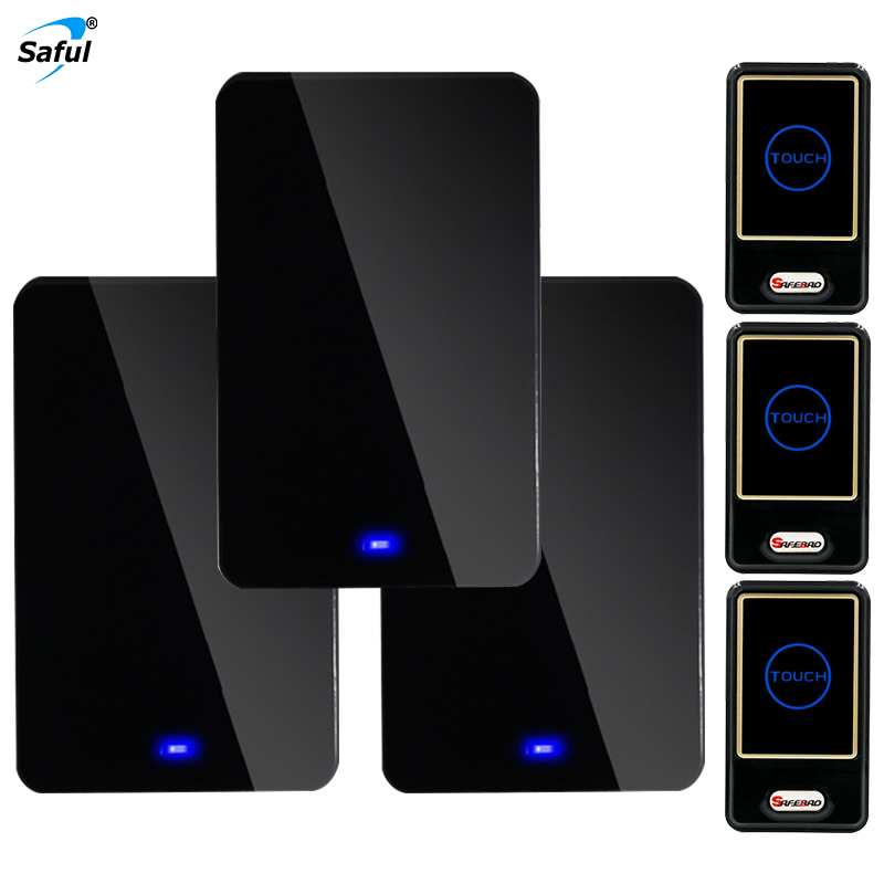 Saful EU/AU/UK/ US Plug Black Waterproof Wireless Doorbell Kits with 3 Out Transmitter+3 Indoor Receiver saful wireless doorbell black waterproof eu au uk us plug 28 ringtones with 3 outdoor transmitter 3 indoor receiver hot sale