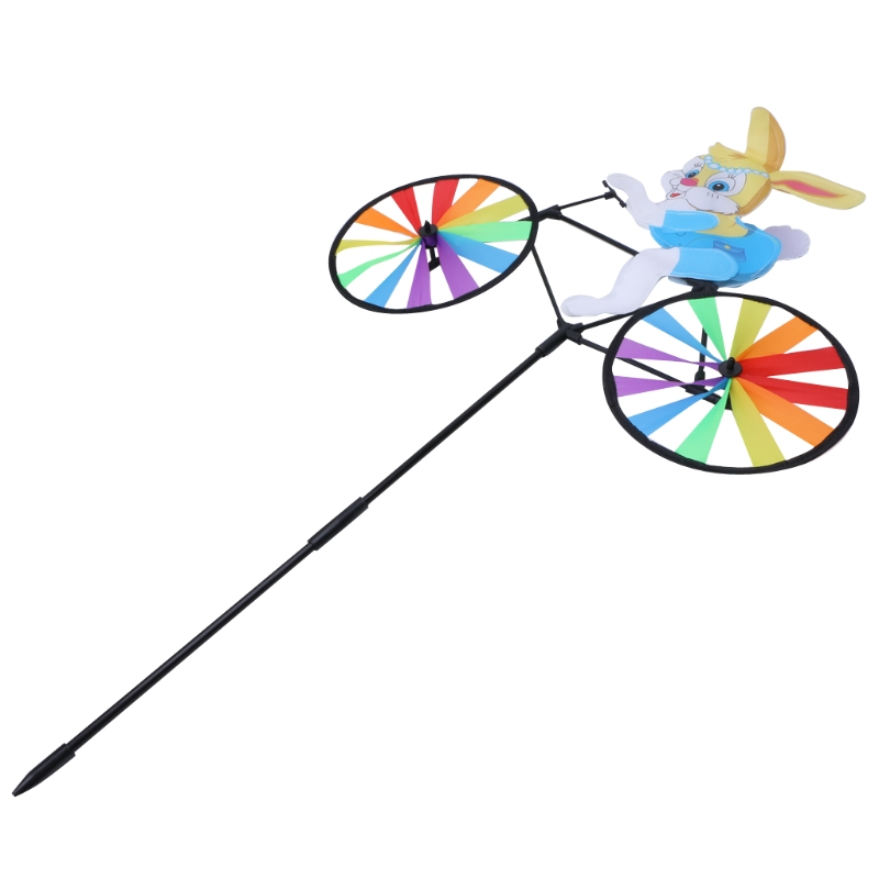 Rabbit Bee Tiger on Bike DIY Windmill Animal Bicycle Wind Spinner Whirligig Garden Lawn Decorative Gadgets Kids Outdoor Toys