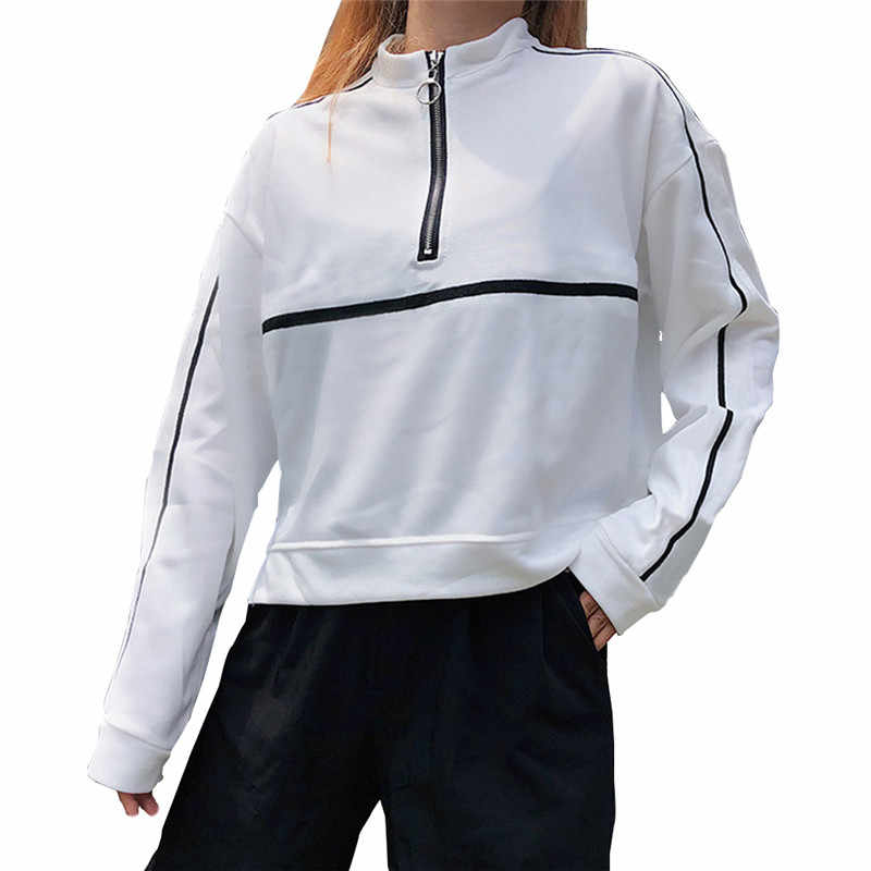 Women's Long-sleeved Sweatshirt Stitching Black and White Blue Three-color Sweatshirt Ladies Long-sleeved Wild Casual Sweatshirt