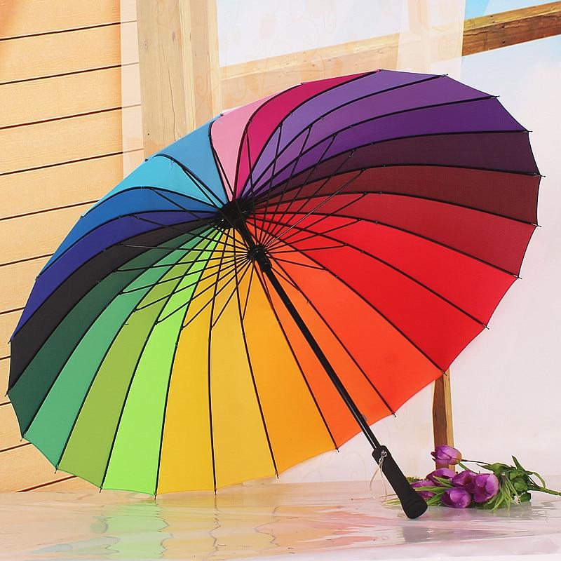 Мода 24 К ребра Радуга Цвет длинная ручка зонтика Для мужчин и Для женщин прямые Неавтоматическое Защита от солнца/дождь Зонты guarda Chuva Paraguas