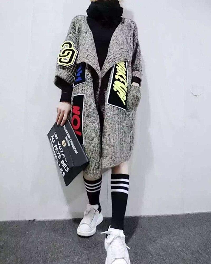 2016 новинка, Женский индивидуальный длинный кардиган с аппликацией, модный толстый вязаный свитер, пальто, женский свитер, шаль и пончо