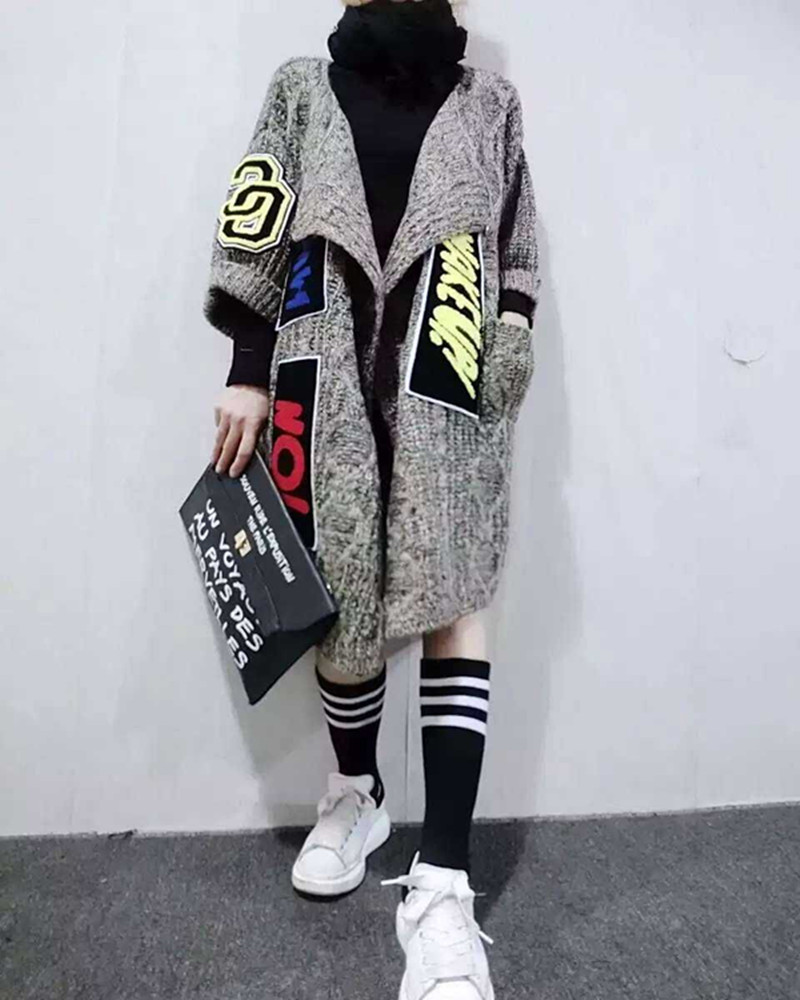 2016 New Women Individuality Appliques Long Cardigans Fashion Thick Knitted Sweater Coat Women's  Sweater Shawl And Ponchos