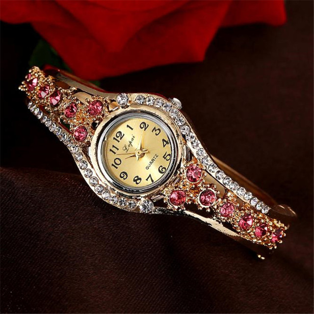 Fashion Vintage Women Dress Watches Colorful Crystal Women Bracelet Watch Wristwatch Casual Gift Dress Clock Relogio Feminino