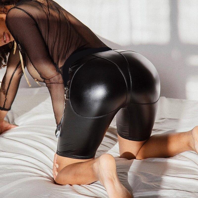 2019 Women Sexy PU Leather Shorts High Waist Booty Shorts Black Latex Push Up Long Shorts Elastic Waist Booty Leather Shorts