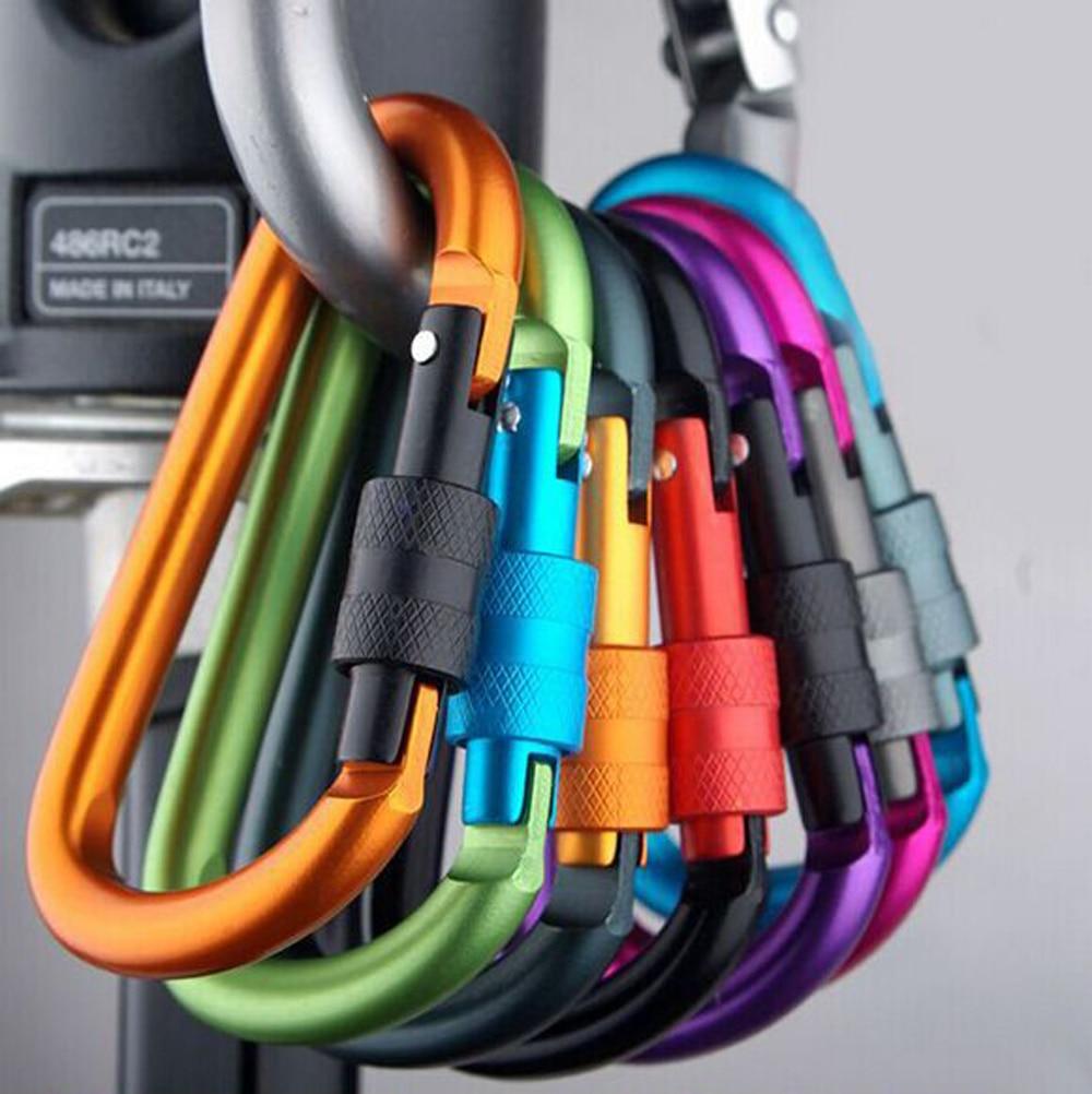 1pcs Aluminum Carabiner D-Ring Key Chain Clip Snap Hook Karabiner Camping Keyring 8 Colors